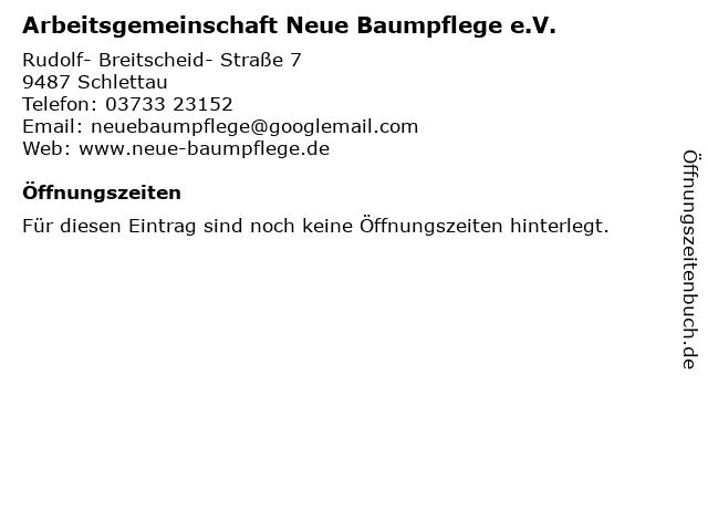 Arbeitsgemeinschaft Neue Baumpflege e.V. in Schlettau: Adresse und Öffnungszeiten