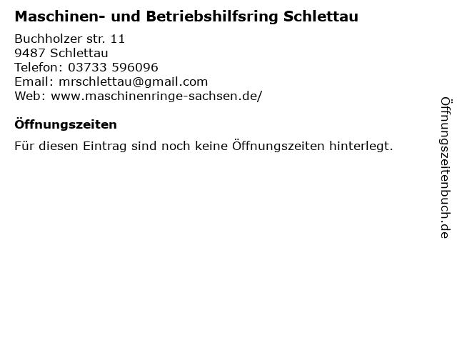 Maschinen- und Betriebshilfsring Schlettau in Schlettau: Adresse und Öffnungszeiten