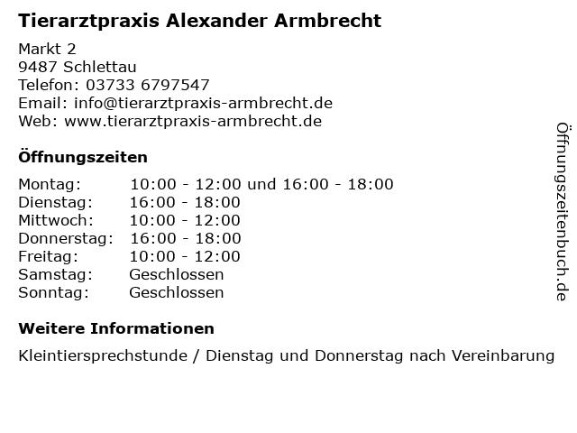Tierarztpraxis Alexander Armbrecht in Schlettau: Adresse und Öffnungszeiten