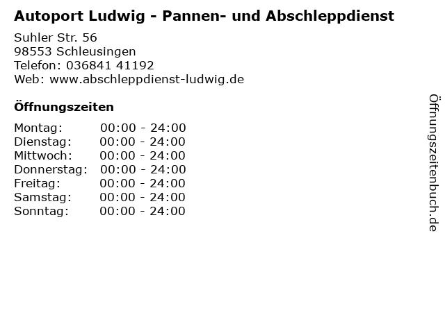 Autoport Ludwig - Pannen- und Abschleppdienst in Schleusingen: Adresse und Öffnungszeiten