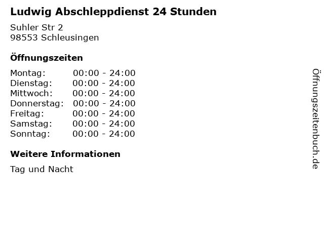 Ludwig Abschleppdienst 24 Stunden in Schleusingen: Adresse und Öffnungszeiten