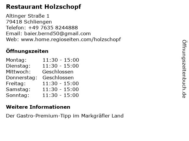 Hotel-Restaurant Holzschopf in Schliengen: Adresse und Öffnungszeiten