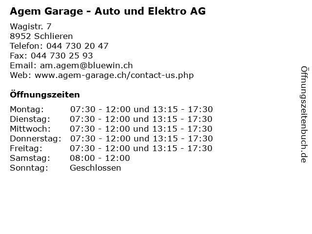 Agem Garage - Auto und Elektro AG in Schlieren: Adresse und Öffnungszeiten