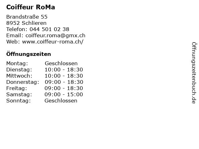 Coiffeur RoMa in Schlieren: Adresse und Öffnungszeiten