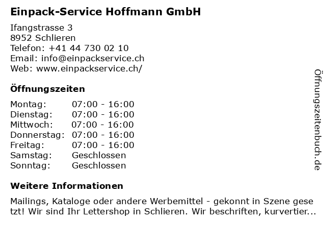 Einpack-Service Hoffmann GmbH in Schlieren: Adresse und Öffnungszeiten