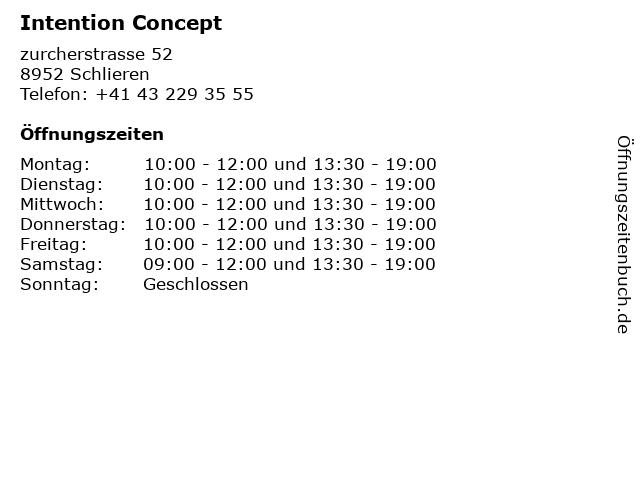 Intention Concept in Schlieren: Adresse und Öffnungszeiten