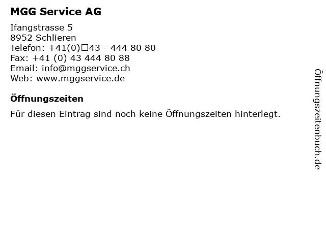 MGG Service AG in Schlieren: Adresse und Öffnungszeiten