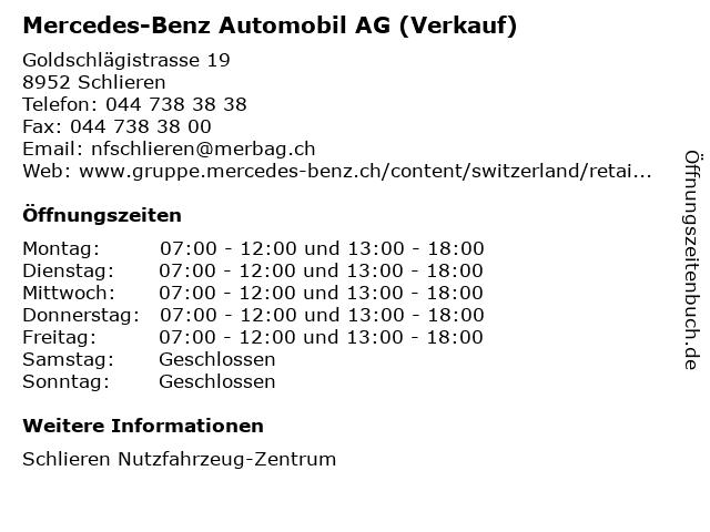 Mercedes-Benz Automobil AG (Verkauf) in Schlieren: Adresse und Öffnungszeiten