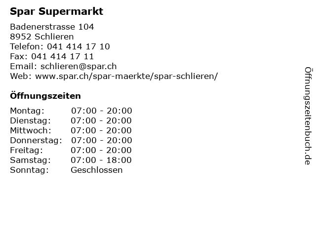 Spar Supermarkt in Schlieren: Adresse und Öffnungszeiten