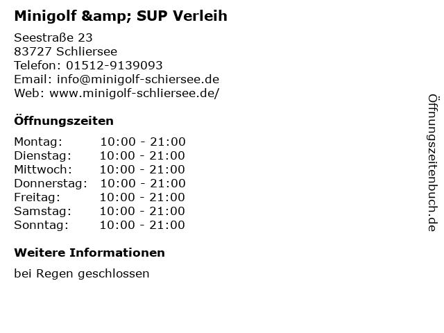 Minigolf & SUP Verleih in Schliersee: Adresse und Öffnungszeiten
