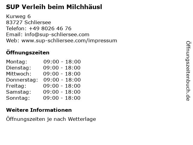 SUP Verleih beim Milchhäusl in Schliersee: Adresse und Öffnungszeiten