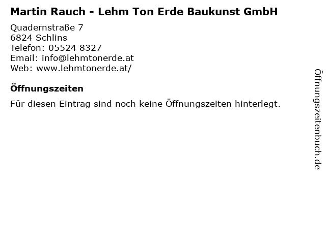 Martin Rauch - Lehm Ton Erde Baukunst GmbH in Schlins: Adresse und Öffnungszeiten