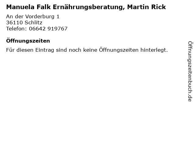 Manuela Falk Ernährungsberatung, Martin Rick in Schlitz: Adresse und Öffnungszeiten