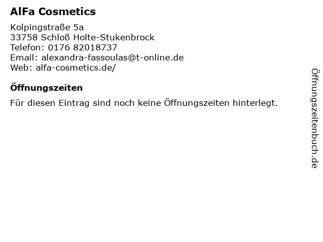 AlFa Cosmetics in Schloß Holte-Stukenbrock: Adresse und Öffnungszeiten