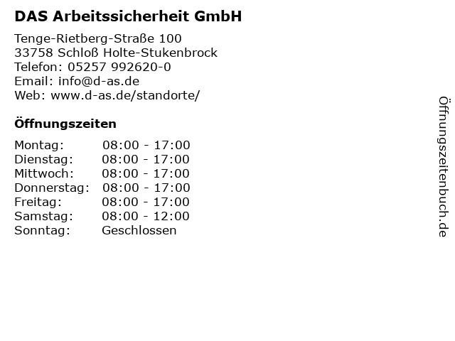 DAS Arbeitssicherheit GmbH in Schloß Holte-Stukenbrock: Adresse und Öffnungszeiten