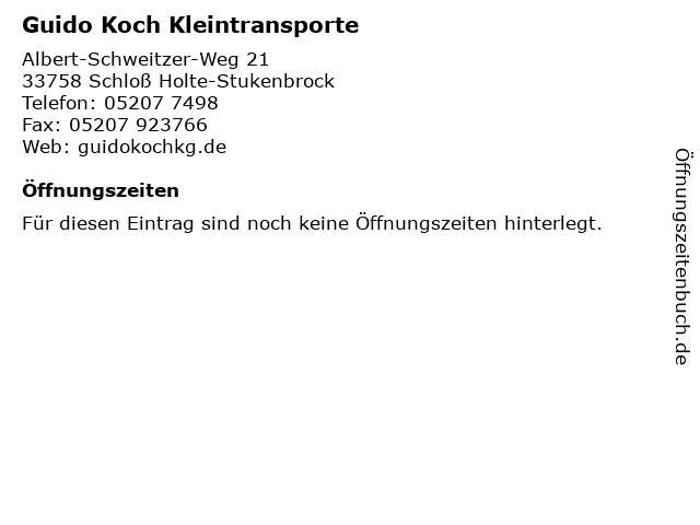 Guido Koch Kleintransporte in Schloß Holte-Stukenbrock: Adresse und Öffnungszeiten