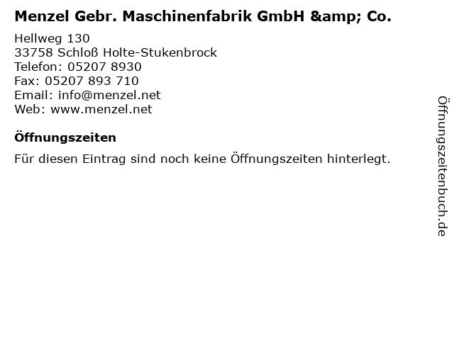 Menzel Gebr. Maschinenfabrik GmbH & Co. in Schloß Holte-Stukenbrock: Adresse und Öffnungszeiten