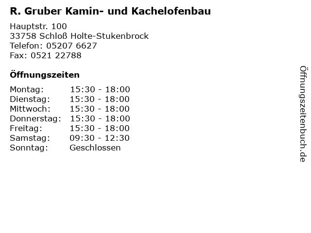 R. Gruber Kamin- und Kachelofenbau in Schloß Holte-Stukenbrock: Adresse und Öffnungszeiten
