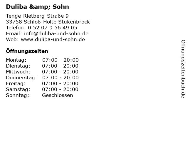Duliba & Sohn in Schloß-Holte Stukenbrock: Adresse und Öffnungszeiten