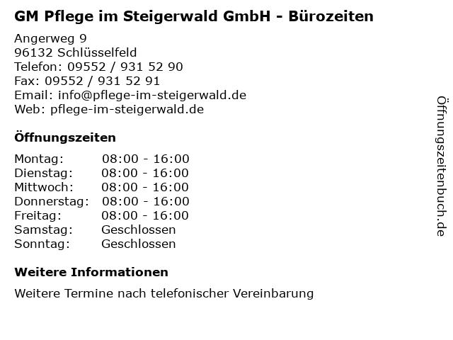 GM Pflege im Steigerwald GmbH - Bürozeiten in Schlüsselfeld: Adresse und Öffnungszeiten