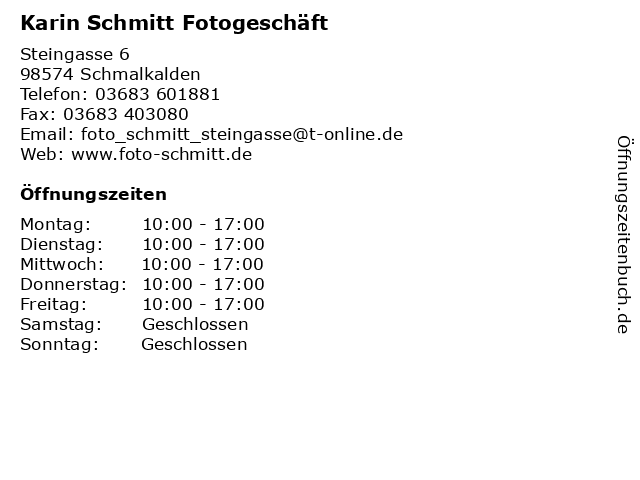 Karin Schmitt Fotogeschäft in Schmalkalden: Adresse und Öffnungszeiten