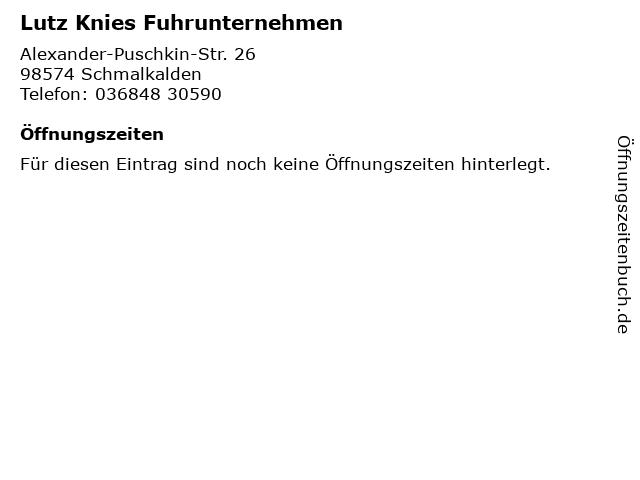 Lutz Knies Fuhrunternehmen in Schmalkalden: Adresse und Öffnungszeiten