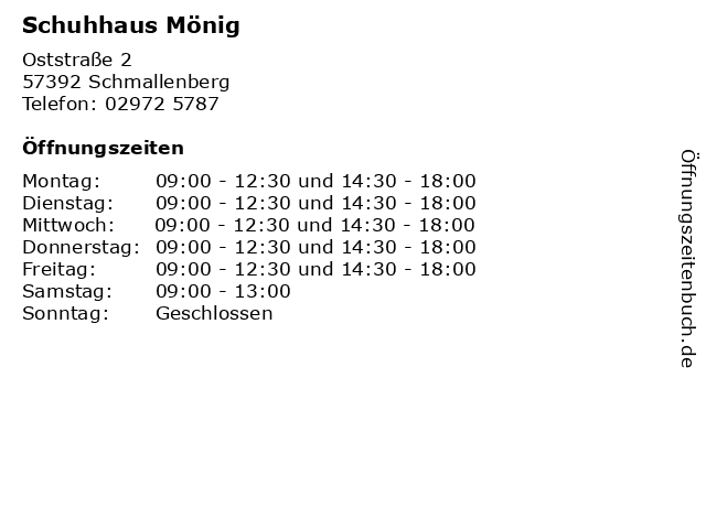 Schuhhaus Mönig in Schmallenberg: Adresse und Öffnungszeiten