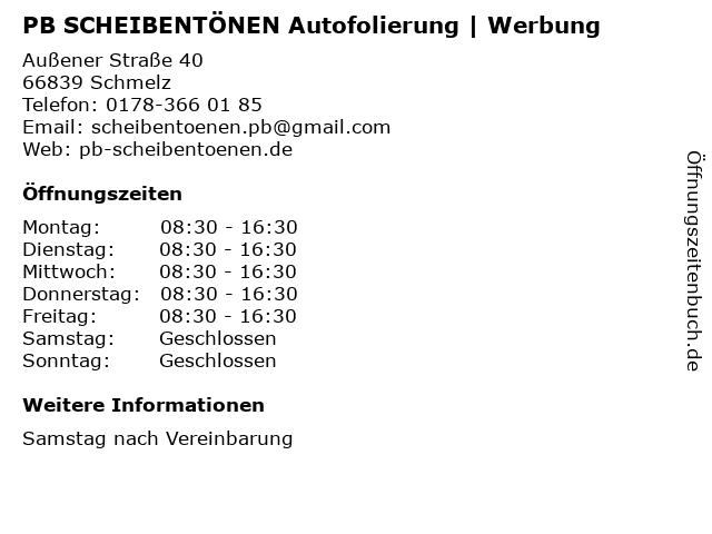 PB SCHEIBENTÖNEN Autofolierung | Werbung in Schmelz: Adresse und Öffnungszeiten