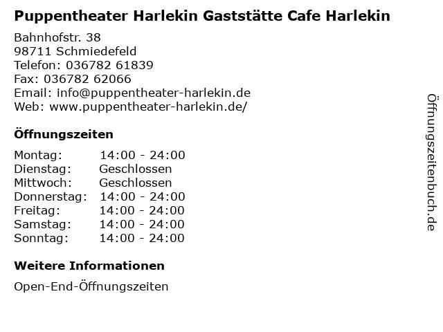 Puppentheater Harlekin Gaststätte Cafe Harlekin in Schmiedefeld: Adresse und Öffnungszeiten