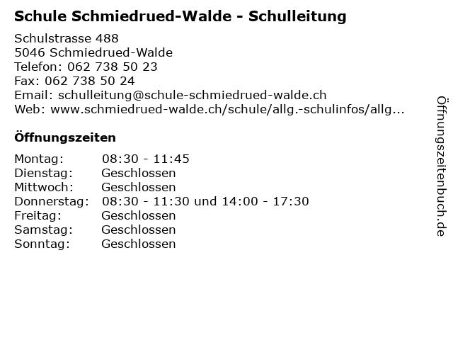 Schule Schmiedrued-Walde - Schulleitung in Schmiedrued-Walde: Adresse und Öffnungszeiten