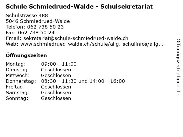 Schule Schmiedrued-Walde - Schulsekretariat in Schmiedrued-Walde: Adresse und Öffnungszeiten