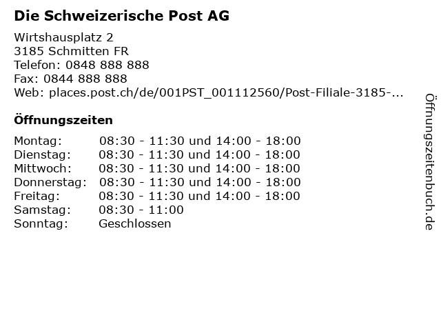 Die Schweizerische Post AG - Filiale Schmitten (Normalschalter) in Schmitten FR: Adresse und Öffnungszeiten