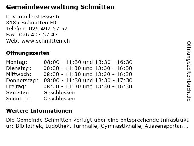 Gemeindeverwaltung Schmitten in Schmitten FR: Adresse und Öffnungszeiten