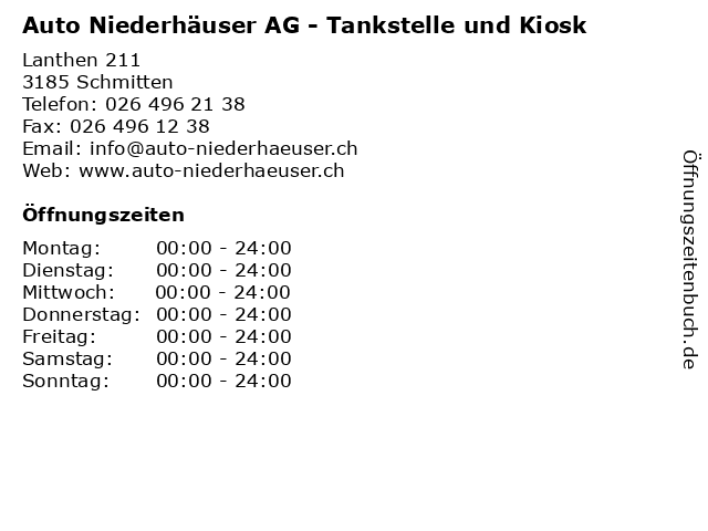 Auto Niederhäuser AG - Tankstelle und Kiosk in Schmitten: Adresse und Öffnungszeiten