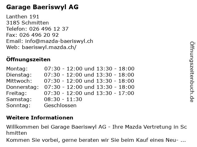 Garage Baeriswyl AG in Schmitten: Adresse und Öffnungszeiten