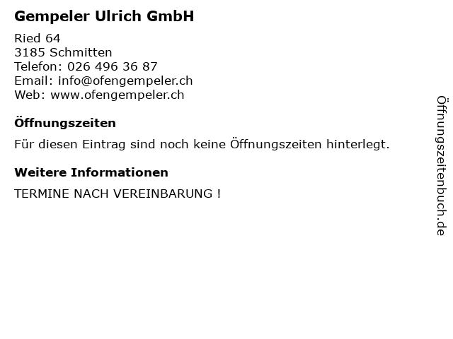 Gempeler Ulrich GmbH in Schmitten: Adresse und Öffnungszeiten