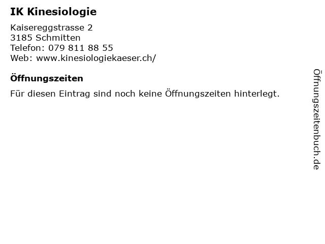IK Kinesiologie in Schmitten: Adresse und Öffnungszeiten