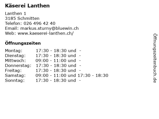 Käserei Lanthen in Schmitten: Adresse und Öffnungszeiten