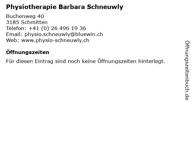 Physiotherapie Barbara Schneuwly in Schmitten: Adresse und Öffnungszeiten