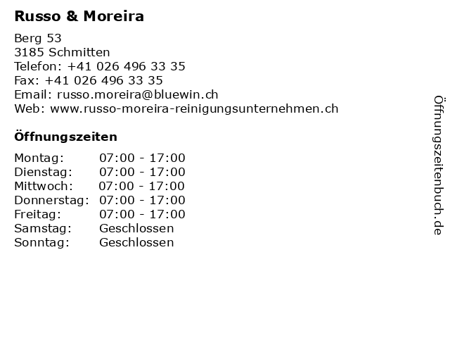 Russo & Moreira in Schmitten: Adresse und Öffnungszeiten