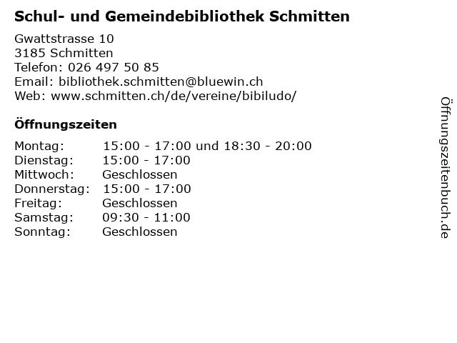 Schul- und Gemeindebibliothek Schmitten in Schmitten: Adresse und Öffnungszeiten