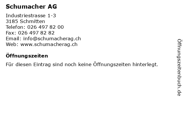 Schumacher AG in Schmitten: Adresse und Öffnungszeiten