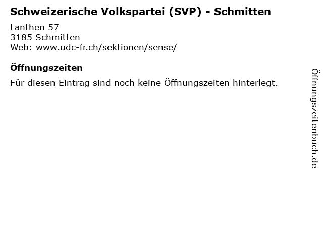 Schweizerische Volkspartei (SVP) - Schmitten in Schmitten: Adresse und Öffnungszeiten