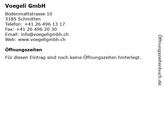 Voegeli GmbH in Schmitten: Adresse und Öffnungszeiten