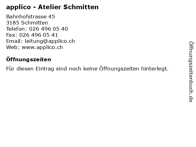 applico - Atelier Schmitten in Schmitten: Adresse und Öffnungszeiten