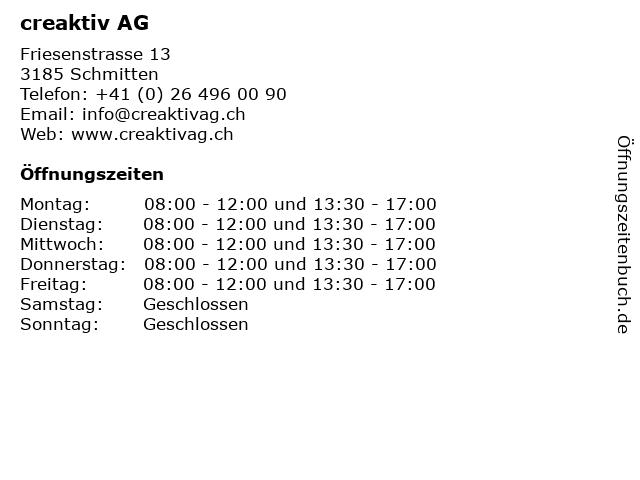 creaktiv AG in Schmitten: Adresse und Öffnungszeiten