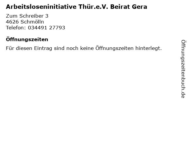 Arbeitsloseninitiative Thür.e.V. Beirat Gera in Schmölln: Adresse und Öffnungszeiten