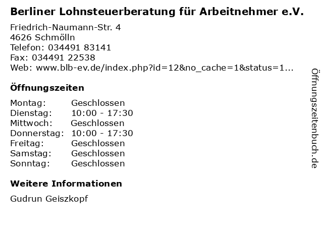 Berliner Lohnsteuerberatung für Arbeitnehmer e.V. in Schmölln: Adresse und Öffnungszeiten
