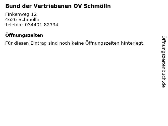 Bund der Vertriebenen OV Schmölln in Schmölln: Adresse und Öffnungszeiten