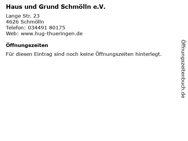 Haus und Grund Schmölln e.V. in Schmölln: Adresse und Öffnungszeiten
